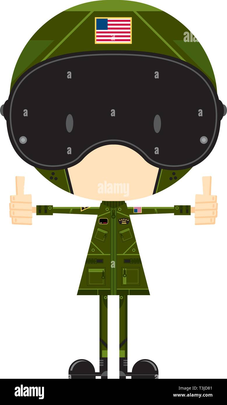 Cartoon Air Force Fighter Pilot Stock Vector