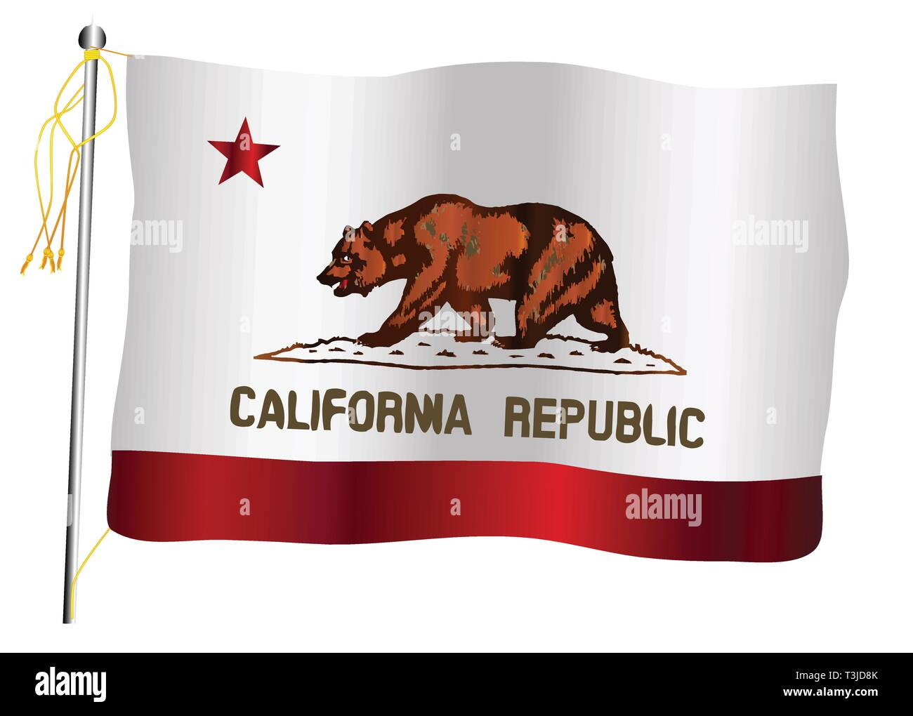 The California State US state flag set against against a white background. - Stock Vector