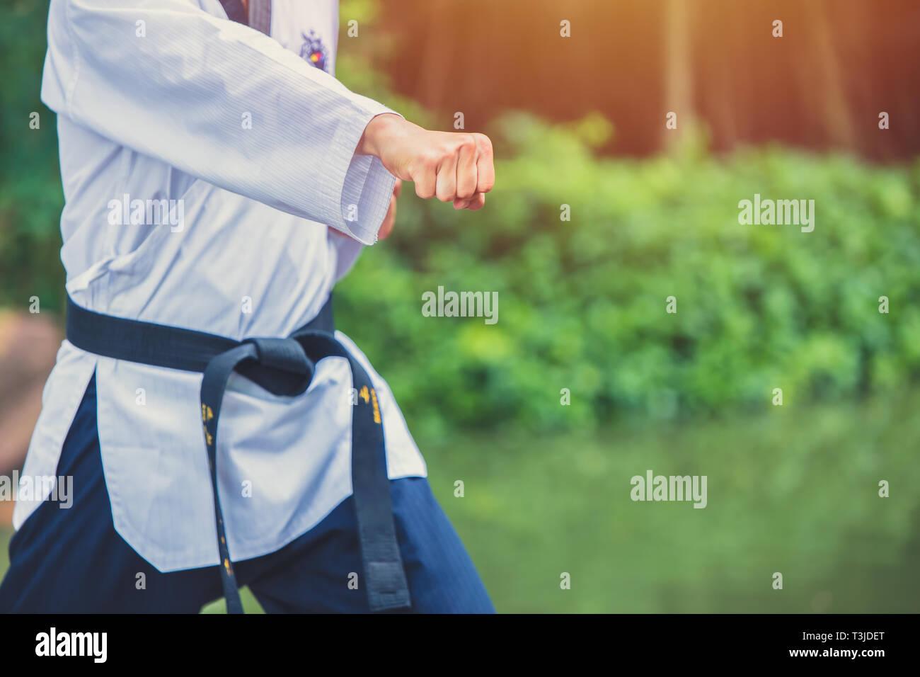 taekwondo man hand fist punching - Stock Image