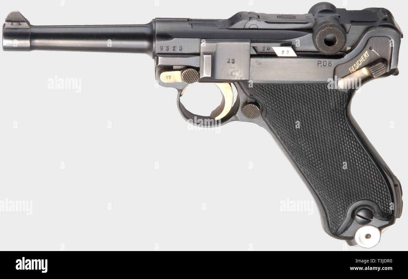 A Parabellum Mauser Commercial, dated '42' with Mauser barrel, calibre 9 mm Parabellum, no. 9323w. Matching numbers. Almost bright bore. No proof marks. Left on frame marked 'P. 08'. Complete original finish with only slight spots on trigger plate. Small parts strawed. Flawless black plastic grip panels. Numberless fxo-magazine with aluminium base. Assembled towards the end of 1944. Top item in almost new condition and very rare. Comes with a non-matching P 38 hardshell. Cf. Still, Third Reich Lugers, pp. 219 f. and Costanzo, World of Lugers, pp. 405 and 417 where serial no, Editorial-Use-Only - Stock Image