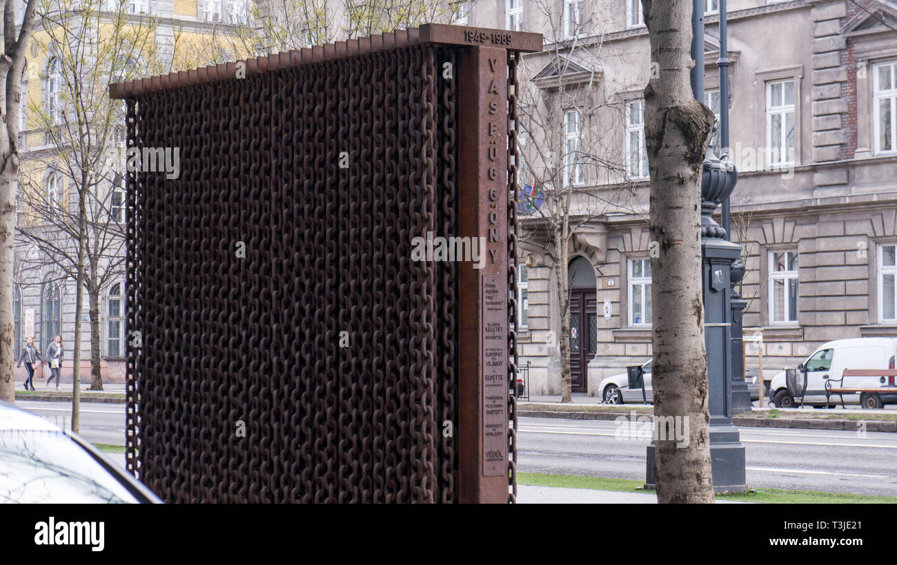 Budapest Hungary 03 15 2019 Monument in front of the house of terror - Stock Image