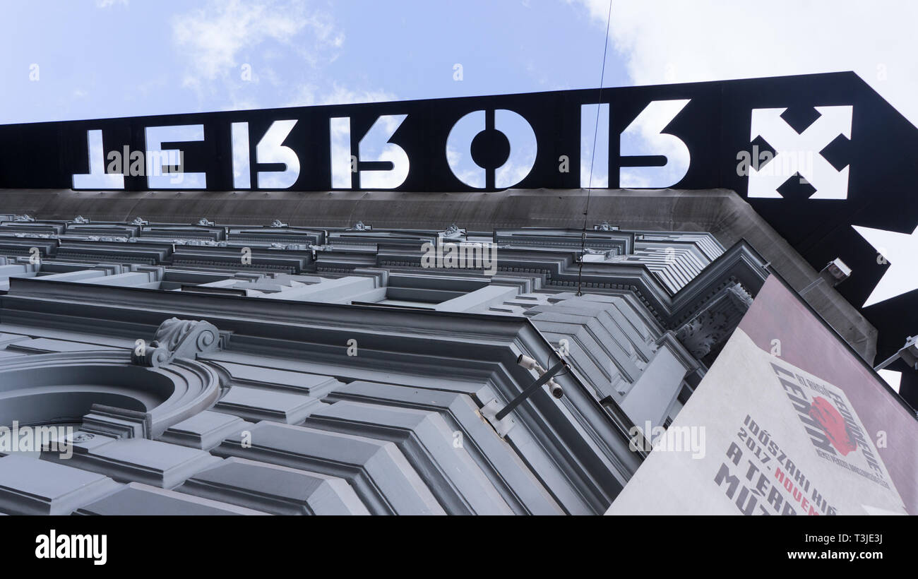 Budapest Hungary 03 15 2019 The House of Terror Detail in Budapest - Stock Image