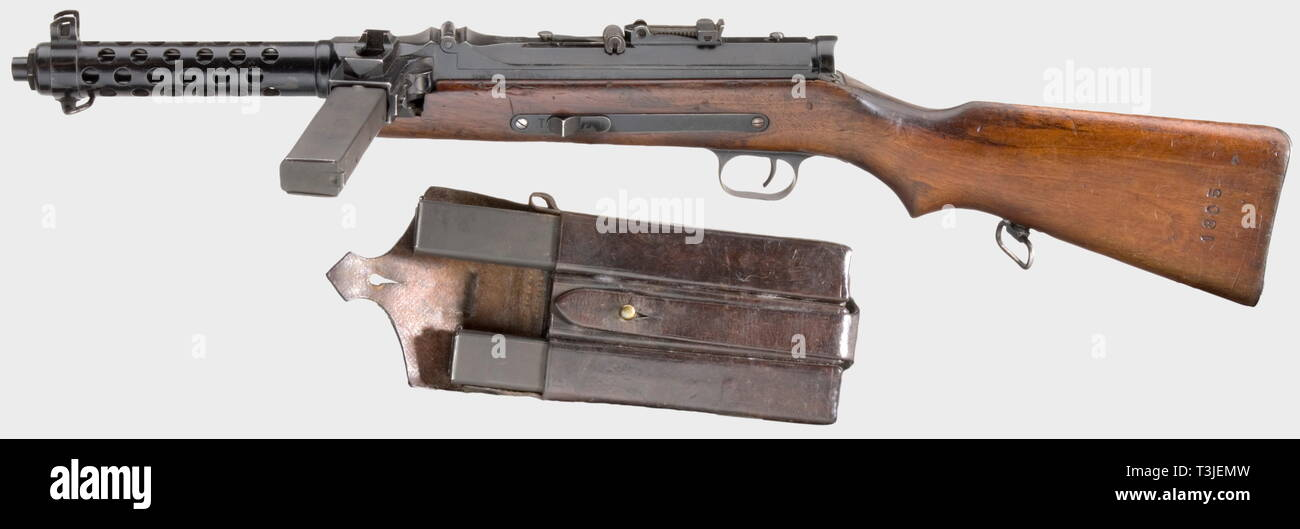 SERVICE WEAPONS, GERMANY UNTIL 1945, MP 34(ö) submachine gun, Steyr-Solothurn, Deko, calibre 9 mm Para, number 3296, Editorial-Use-Only - Stock Image