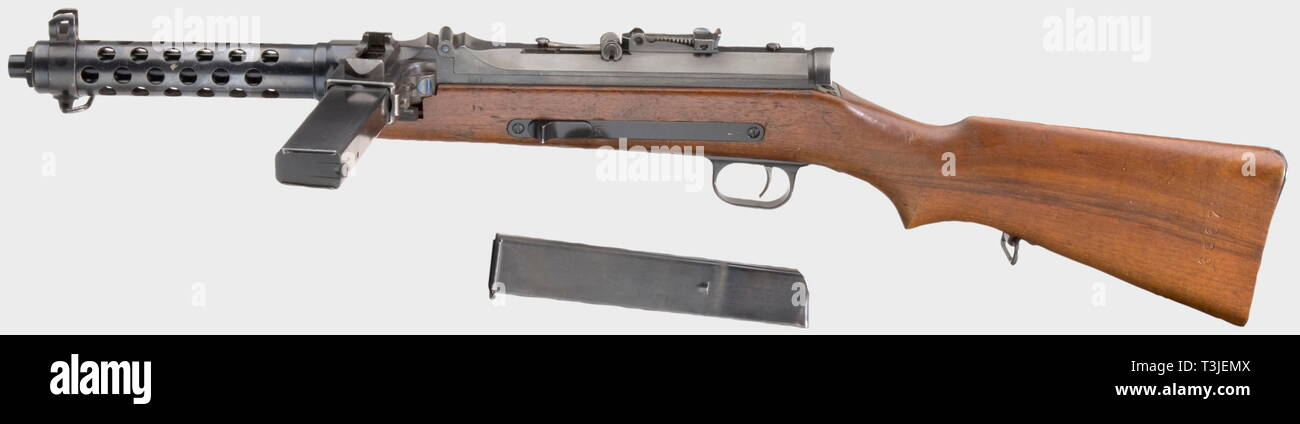SERVICE WEAPONS, GERMANY UNTIL 1945, MP 34(ö) submachine gun, Steyr-Solothurn, Deko, calibre 9 mm Steyr, number 6067, Editorial-Use-Only Stock Photo