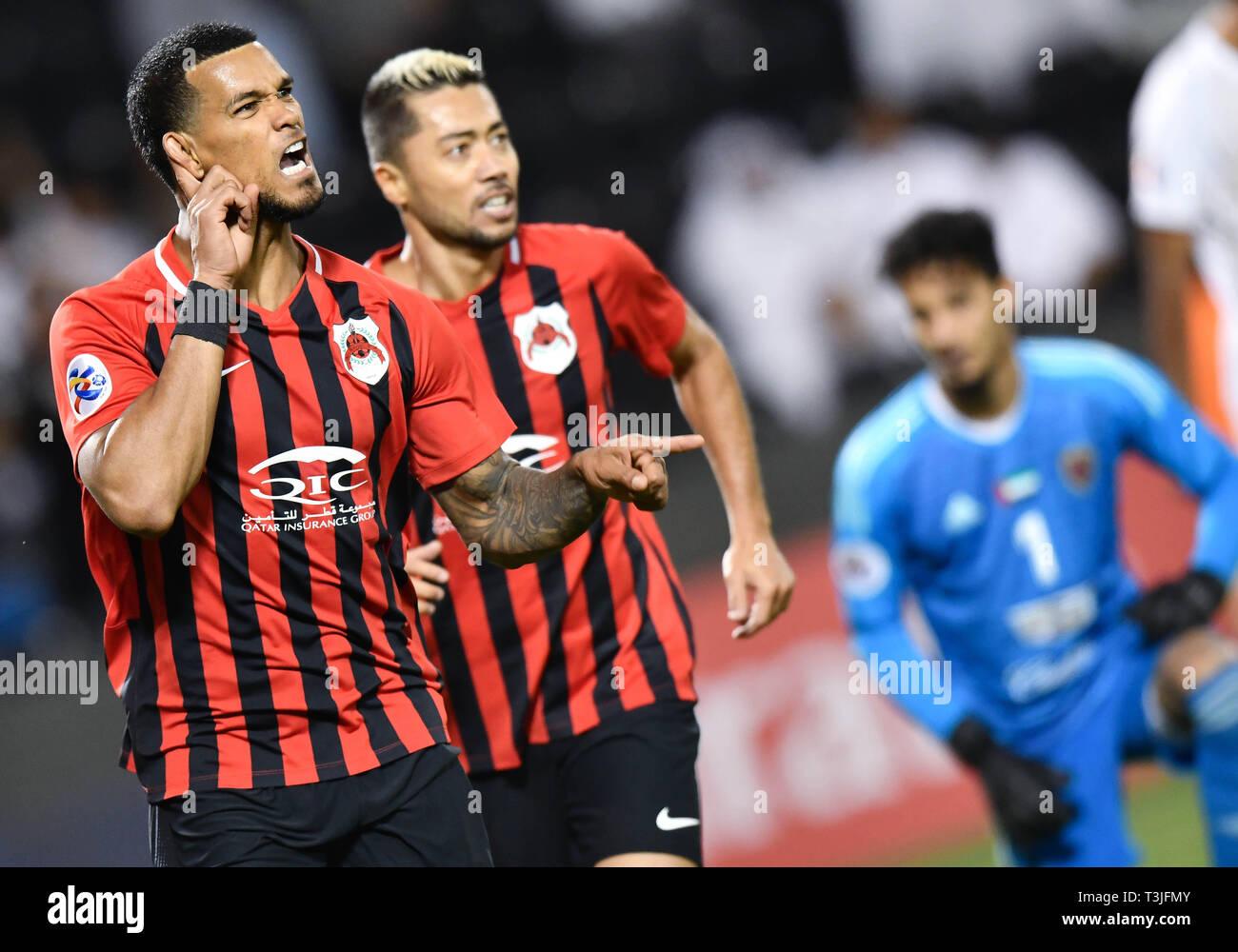 Doha, Qatar. 9th Apr, 2019. Gelmin Rivas (L) of Al Rayyan SC celebrates during the AFC Asian Champions League group B match between Qatar's Al Rayyan SC and UAE's Al Wahda FSCC at Jassim Bin Hamad Stadium in Doha, capital of Qatar, April 9, 2019. Al Wahda won 2-1. Credit: Nikku/Xinhua/Alamy Live News Stock Photo