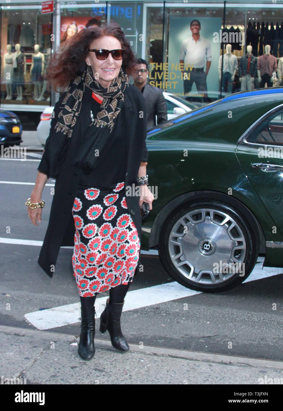 April. 09, 2019 Diane von Furstenberg at Strahan & Sara in New York April 09, 2019 Credit:RW/MediaPunch - Stock Image