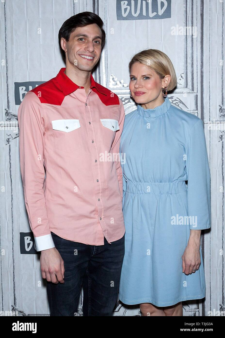 New York, NY, USA. 9th Apr, 2019. Gideon Glick, and, Celia Keenan-Bolger inside for AOL Build Series Celebrity Candids - TUE, AOL Build Series, New York, NY April 9, 2019. Credit: Steve Mack/Everett Collection/Alamy Live News - Stock Image