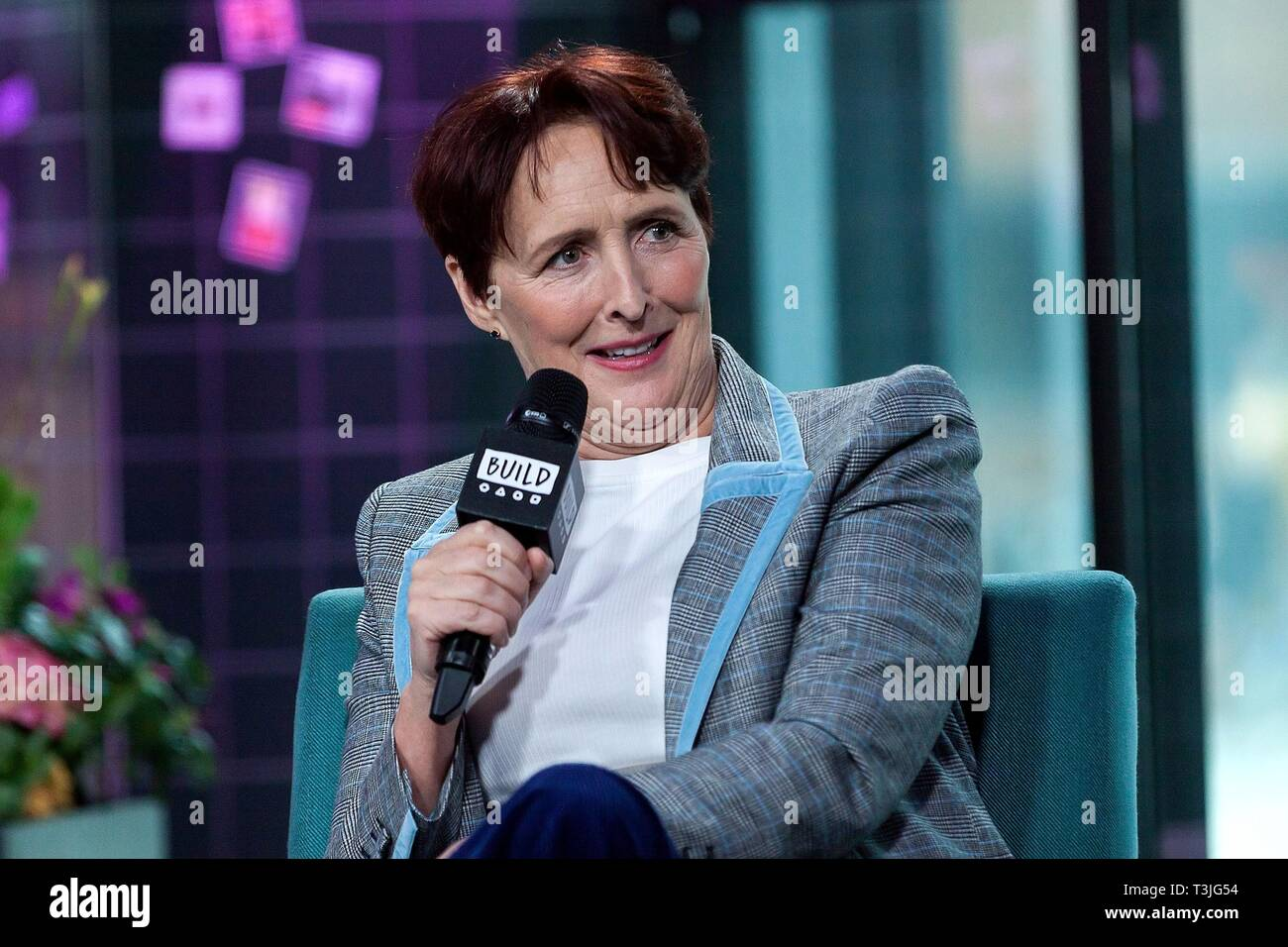 New York, NY, USA. 9th Apr, 2019. Fiona Shaw inside for AOL Build Series Celebrity Candids - TUE, AOL Build Series, New York, NY April 9, 2019. Credit: Steve Mack/Everett Collection/Alamy Live News - Stock Image
