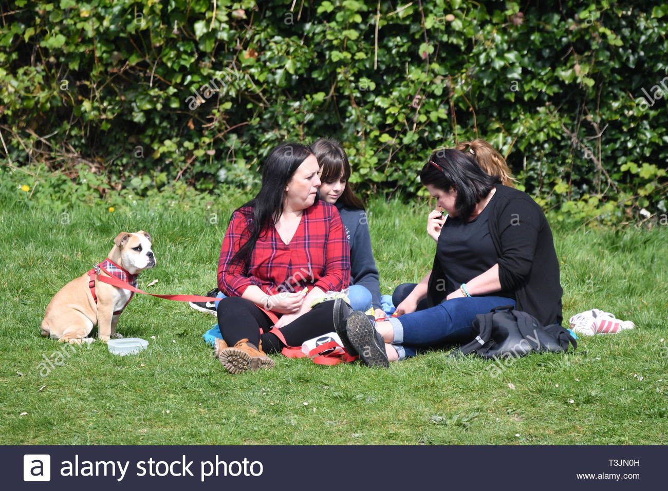Arundel, West Sussex, UK. Wednesday 10th April 2019. People sitting on grass by a lake on a partly cloudy but bright and cool morning in Arundel, near the South Coast. Credit: Geoff Smith/Alamy Live News - Stock Image