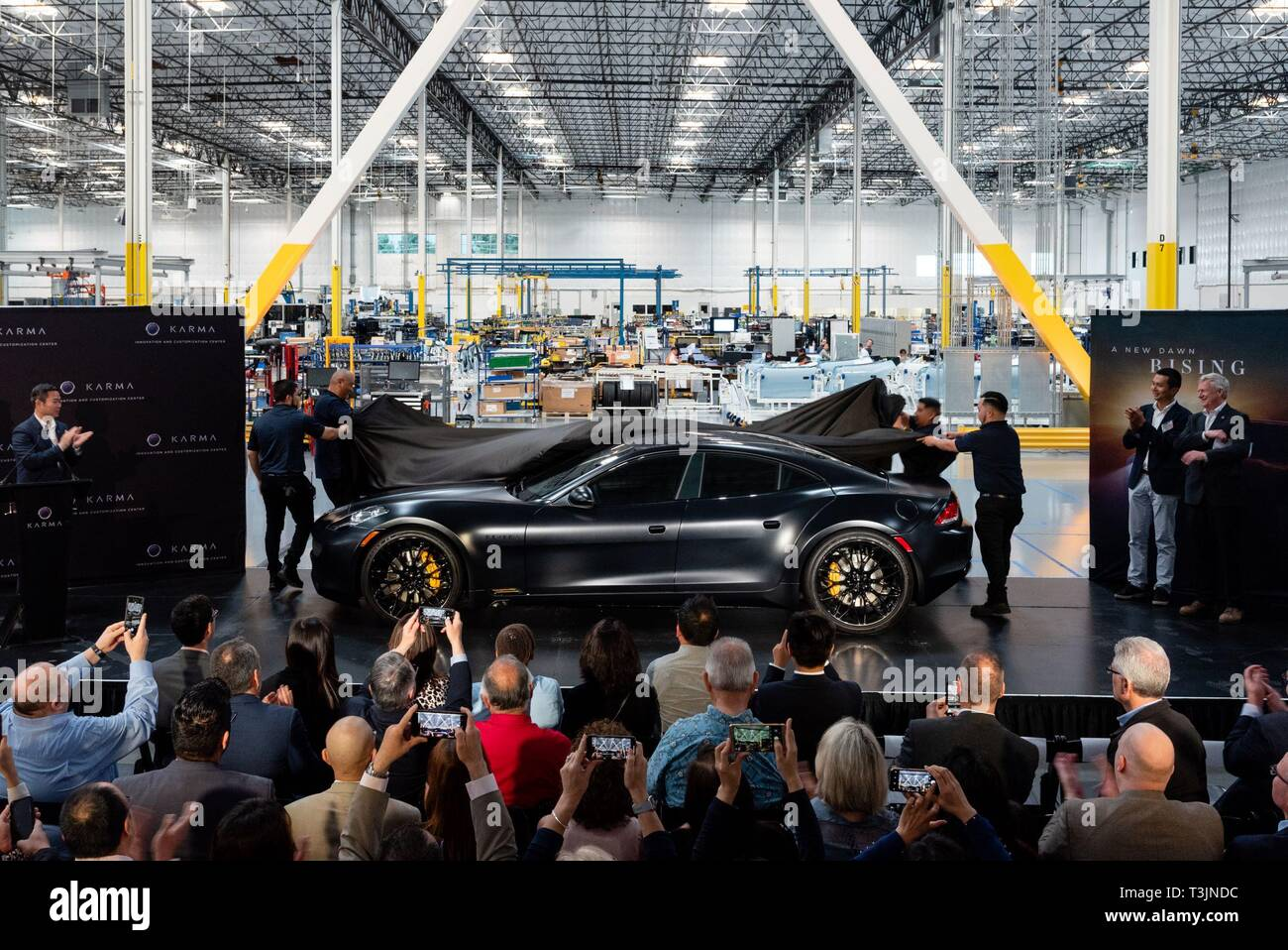 Los Angeles, USA  9th Apr, 2019  An electric car is unveiled