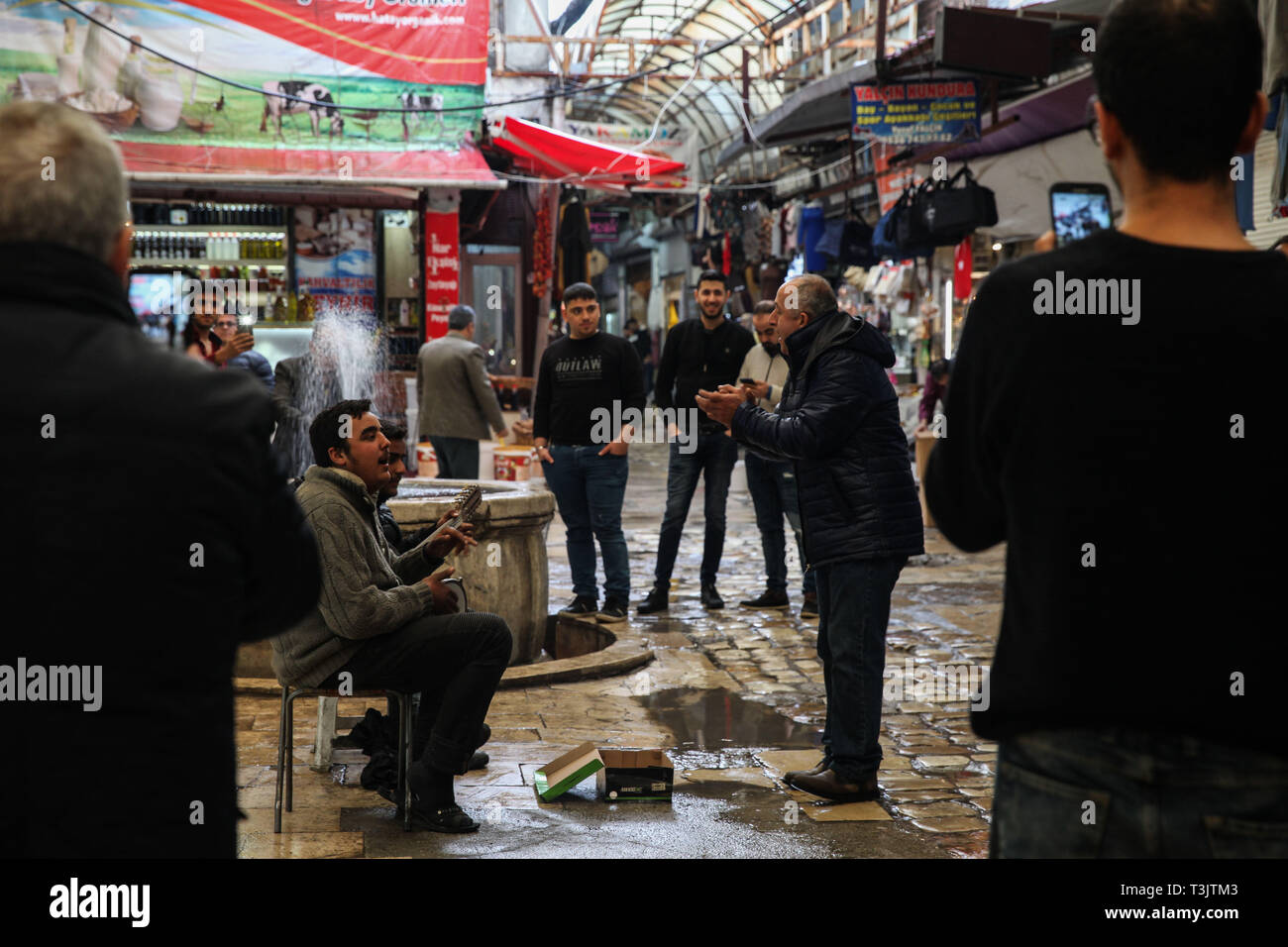 March 15, 2019 - Antakya is a city in southern Turkey built on plains across the Orantes river and close to the Mediterranean coast. It is a tourist destination in addition to being a lively shopping and business centre. In the old covered Bazaar of Uzun Carsi traditional crafts are still practiced and traditional handicrafts are on sale. Despite many ancient buildings having been destroyed during a major earthquake, it is a picturesque place with unique buildings such as old houses, mosques, churches, museums, and with many narrow alleys and cobbled paths. Antakya was a large city during the - Stock Image