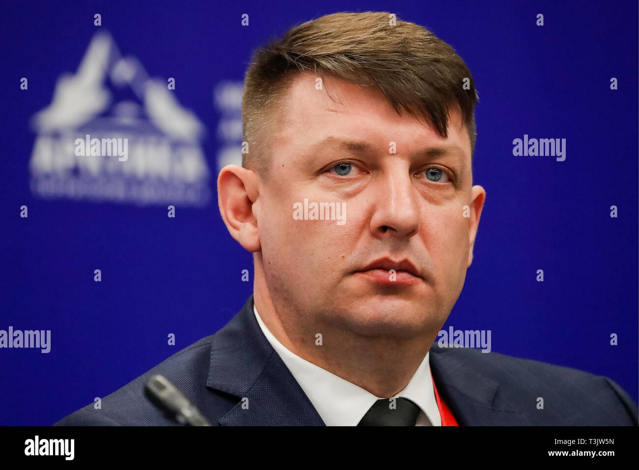 St Petersburg, Russia. 10th Apr, 2019. ST PETERSBURG, RUSSIA - APRIL 10, 2019: Andrei Basov, head of the Federal Centre for Regulation, Standardisation and Technical Conformity Assessment in Construction, attends the 2019 International Arctic Forum at ExpoForum Convention and Exhibition Centre. Sergei Karpukhin/TASS Host Photo Agency Credit: ITAR-TASS News Agency/Alamy Live News - Stock Image