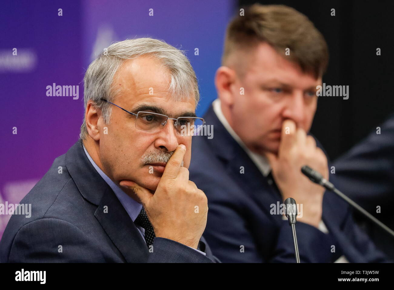 St Petersburg, Russia. 10th Apr, 2019. ST PETERSBURG, RUSSIA - APRIL 10, 2019: Aligyushad Kerimov (L), director of Kim Research Center for the study of permafrost, and Andrei Basov, head of the Federal Centre for Regulation, Standardisation and Technical Conformity Assessment in Construction, attend the 2019 International Arctic Forum at ExpoForum Convention and Exhibition Centre. Sergei Karpukhin/TASS Host Photo Agency Credit: ITAR-TASS News Agency/Alamy Live News - Stock Image