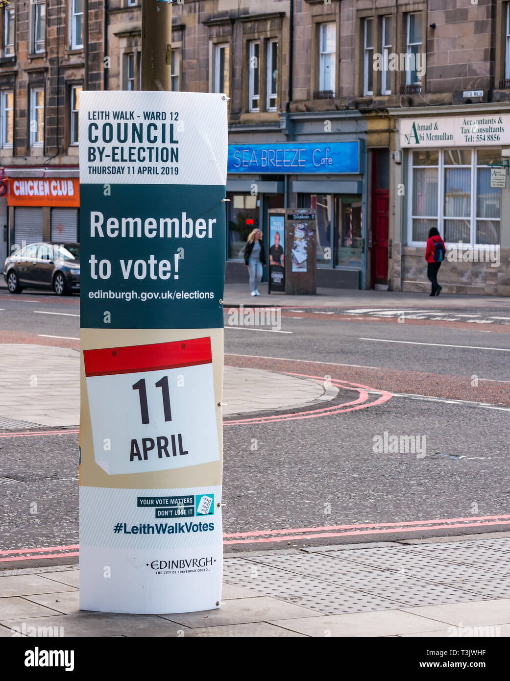 Leith Walk, UK 10th April 2019. Leith Walk Council By-Election. A poster outside one of the Ward polling stations at Pilrig St Paul's Church Hall encourages residents to vote.  The by-election takes place tomorrow on Thursday April 11. The election fields 11 candidates, including the first ever candidate for the For Britain Movement in Scotland, Paul Stirling.  The For Britain was founded by former UKIP leadership candidate Anne Marie Waters Stock Photo