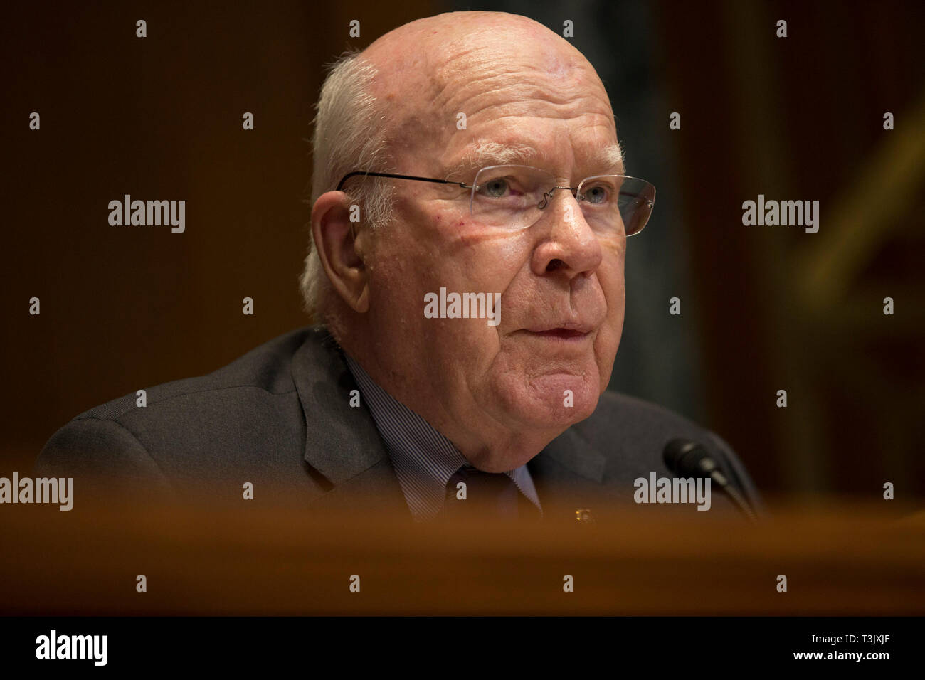 Washington DC, USA. 10th Apr, 2019.  United States Senator Patrick Leahy (Democrat of Vermont) questions United States Attorney General William P. Barr during the US Senate Committee on Appropriations Appropriations Subcommittee on Commerce, Justice, Science, and Related Agencies on Capitol Hill in Washington, DC on April 10, 2019. Credit: dpa picture alliance/Alamy Live News Stock Photo