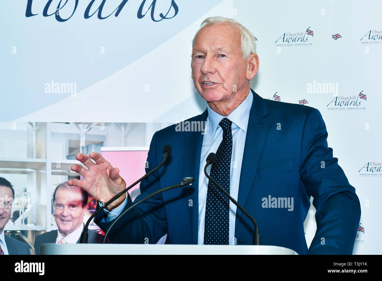 London, UK. 10th Apr, 2019. Winner of  Sport – Bob Wilson OBE the 7th annual Churchill Awards honour achievements of the Over 65's at Claridge's Hotel on 10 March 2019, London, UK. Credit: Picture Capital/Alamy Live News Stock Photo