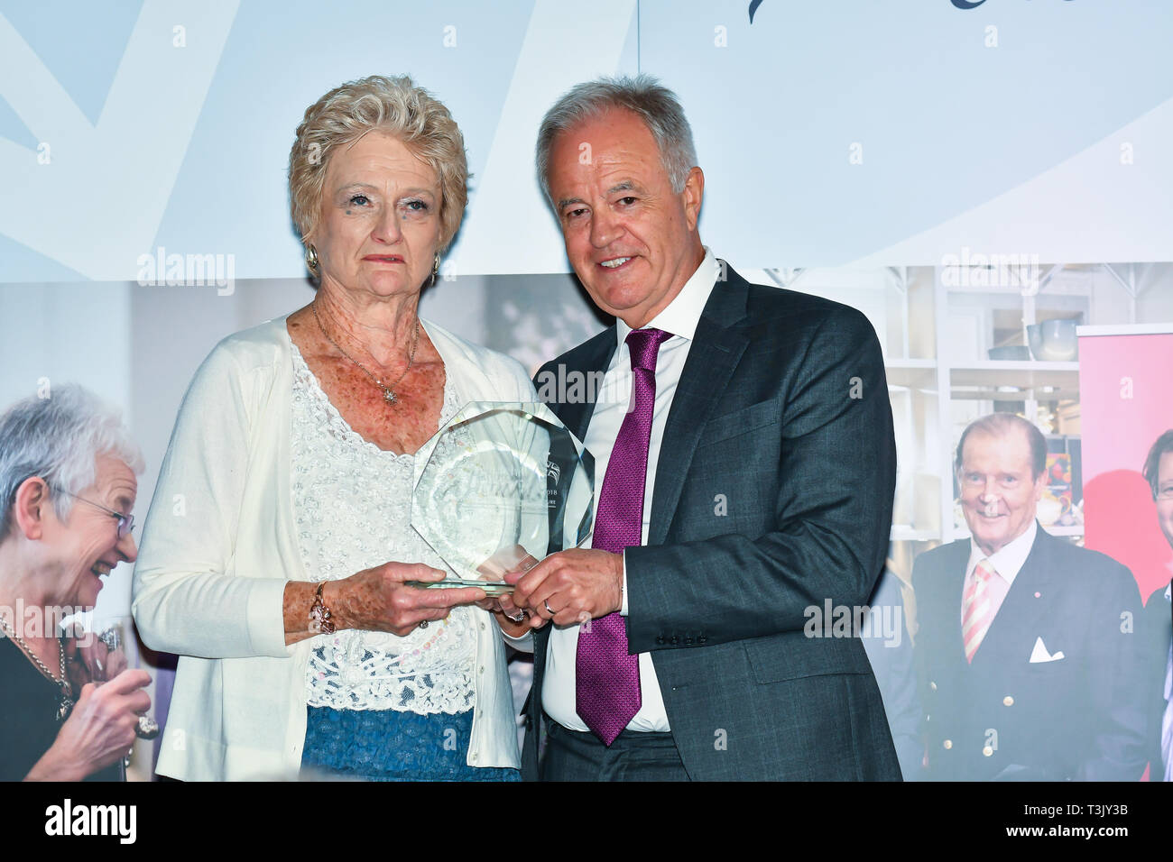 London, UK. 10th Apr, 2019. Martin Young Present  Winner of Local Hero – Janet Lynn of the 7th annual Churchill Awards honour achievements of the Over 65's at Claridge's Hotel on 10 March 2019, London, UK. Credit: Picture Capital/Alamy Live News Stock Photo