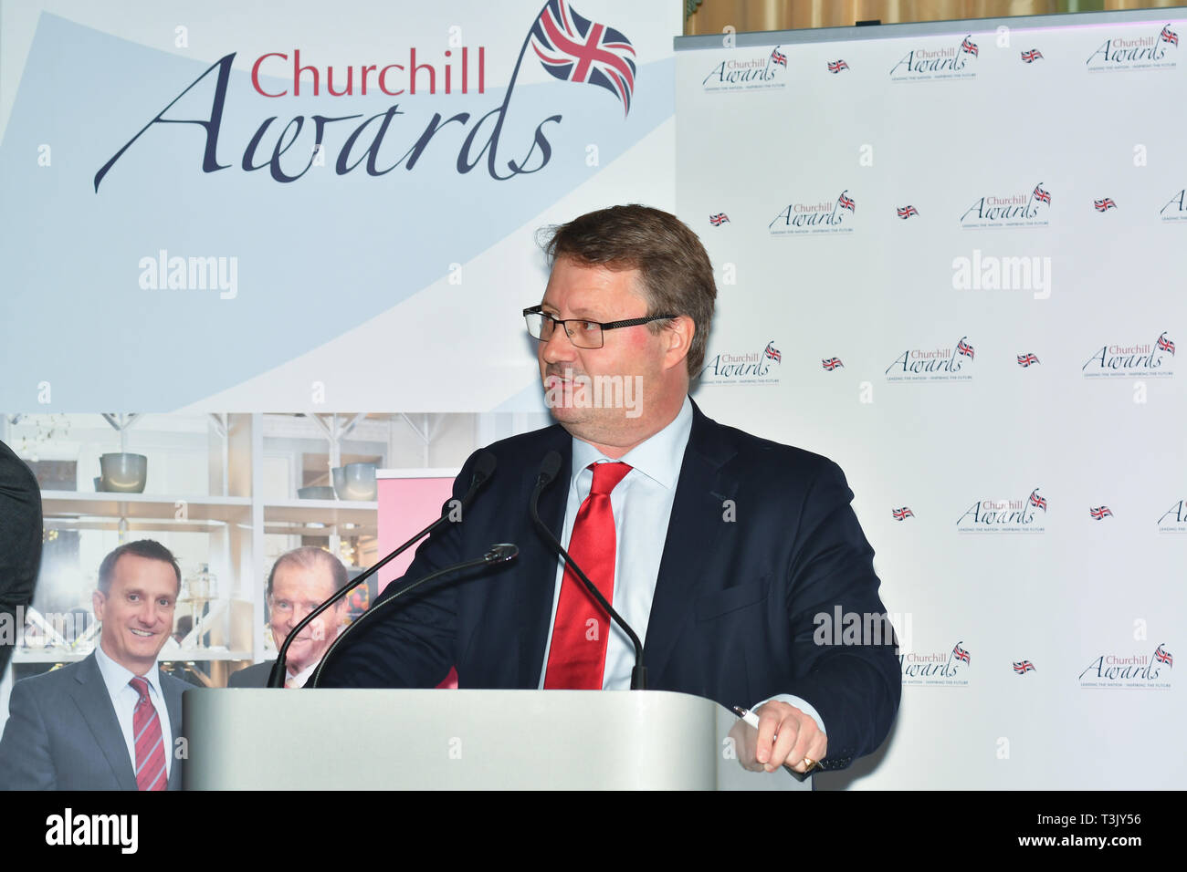 London, UK. 10th Apr, 2019. Rupert Bates presenter of the 7th annual Churchill Awards honour achievements of the Over 65's at Claridge's Hotel on 10 March 2019, London, UK. Credit: Picture Capital/Alamy Live News Stock Photo