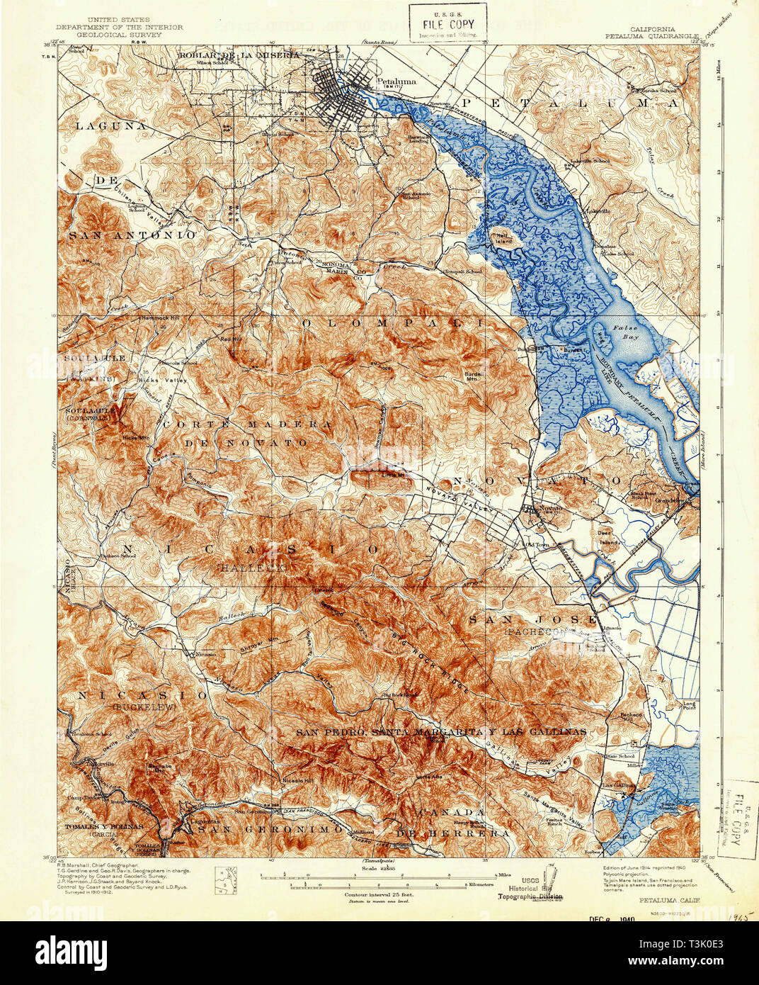 USGS TOPO Map California CA Petaluma 298525 1914 62500