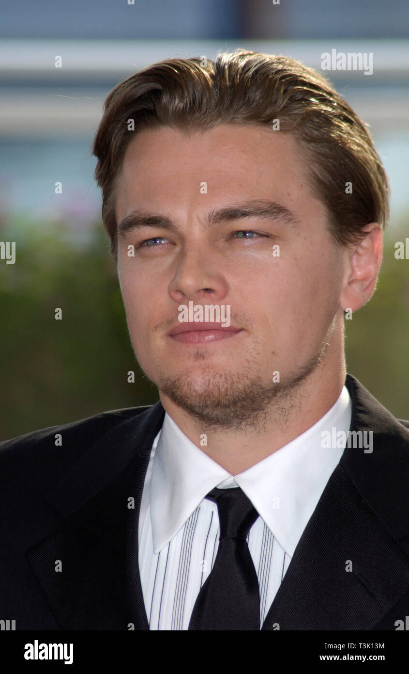 CANNES, FRANCE. May 20, 2002: Actor LEONARDO DiCAPRIO at the Cannes Film Festival to promote his new movie Gangs of New York. © Paul Smith / Featureflash - Stock Image