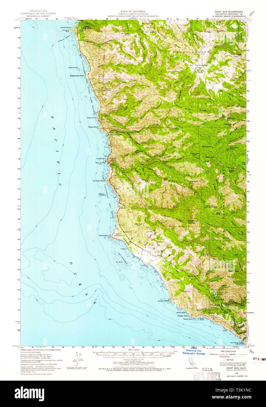 USGS TOPO Map California CA Point Sur 298621 1956 62500 Restoration ...