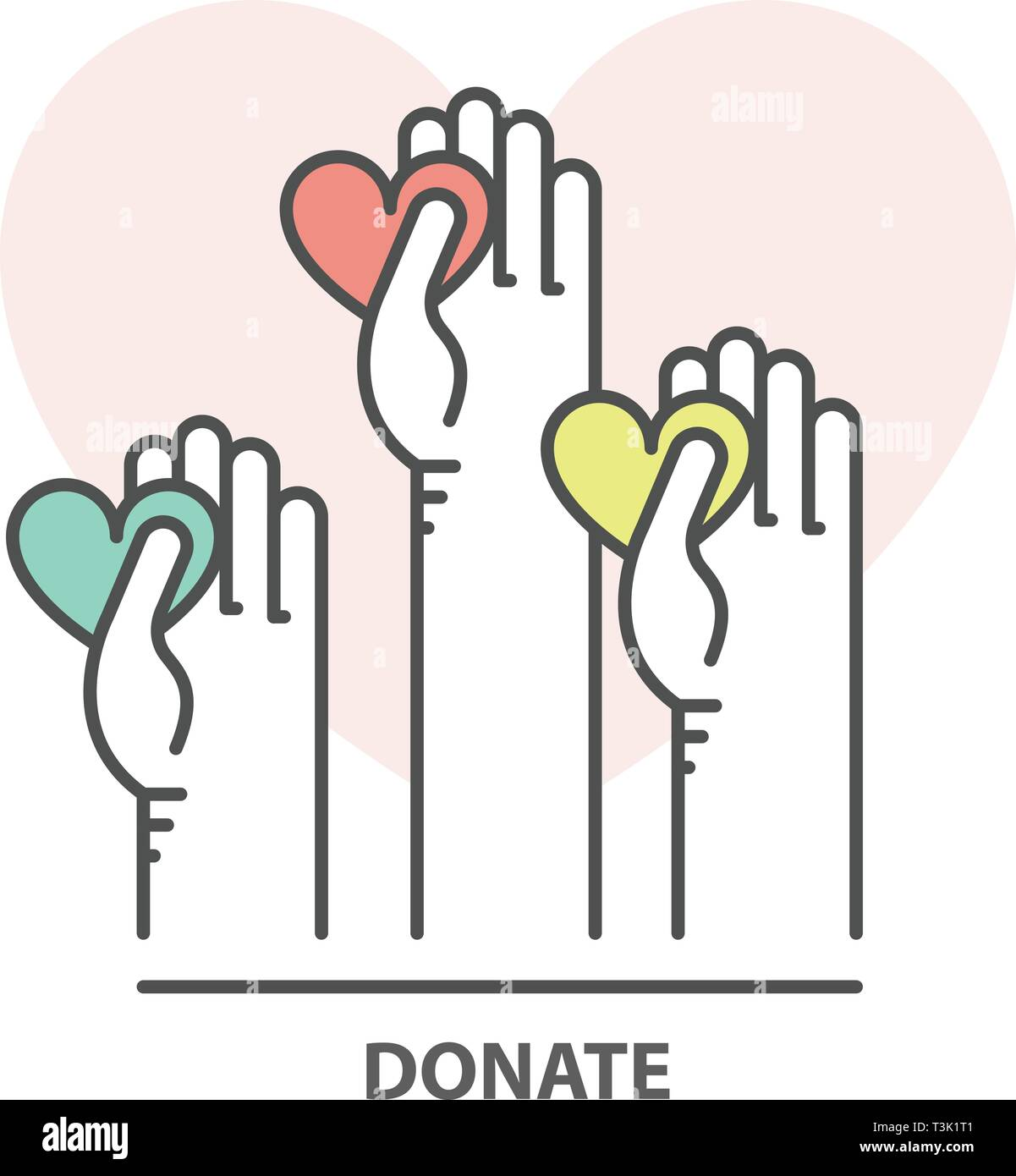 Charity, donation and fundraising concept - volunteer helping hand with heart Stock Vector