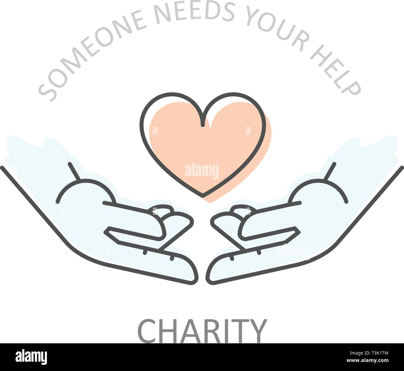 Hands holding heart - charity or philanthropy poster, donation help concept Stock Vector