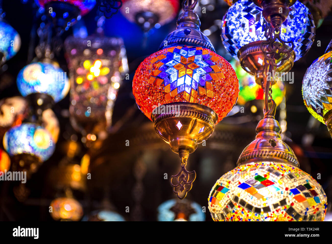 Beautiful Traditional Ramadan Light Lamp with blur background - Shot from Dubai Spice Souk, famous tourkish light, place to visit in dubai-UAE Stock Photo