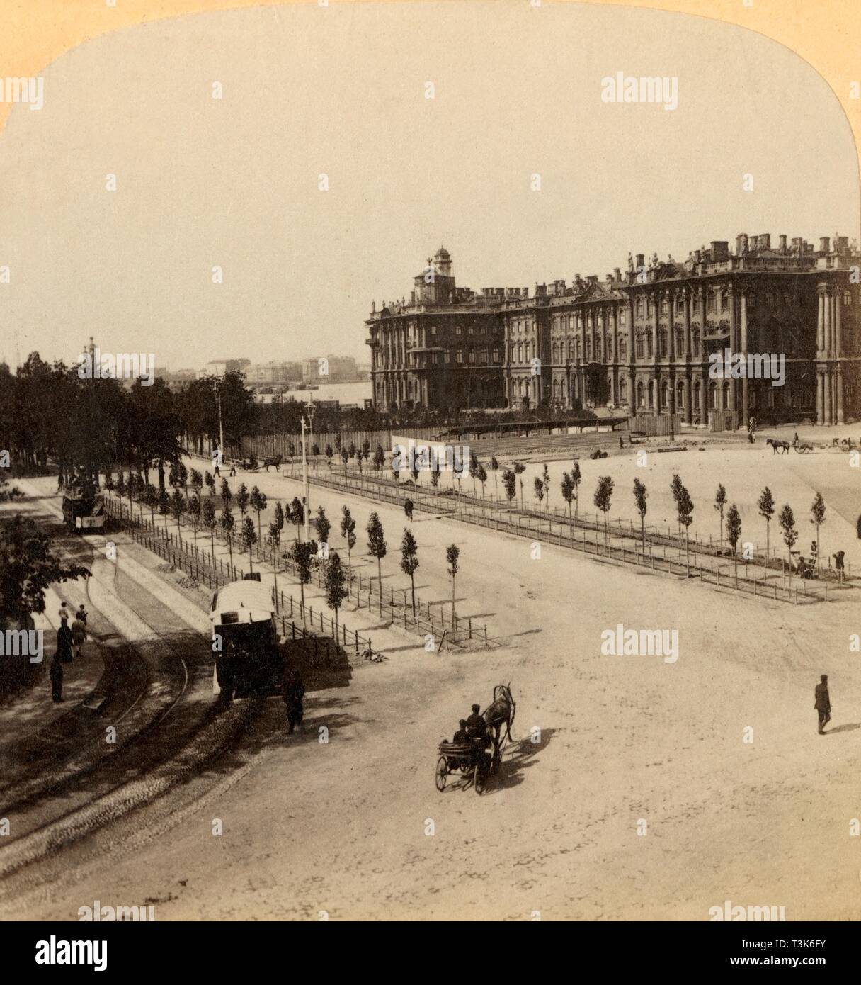 'The Imperial Winter Palace from Nevsky Prospect, St. Petersburg, Russia', 1897. Creator: Underwood & Underwood. Stock Photo