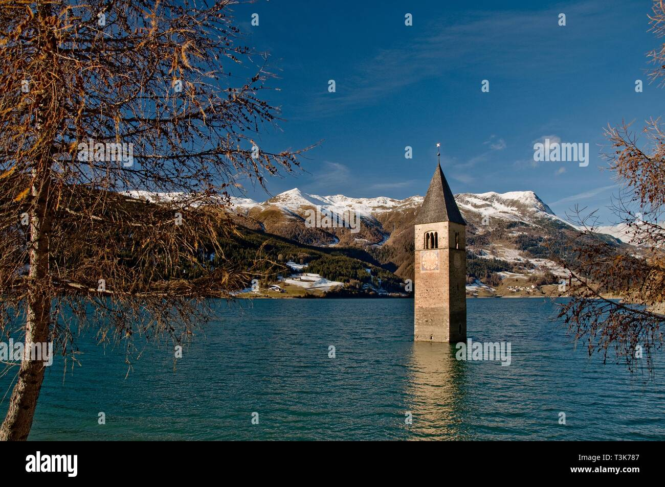 Church tower of the former parish church Sankt Katahrina of Graun in the Reschensee, in the background the Piz Lad, Vinschgau, South Tyrol, Italy - Stock Image