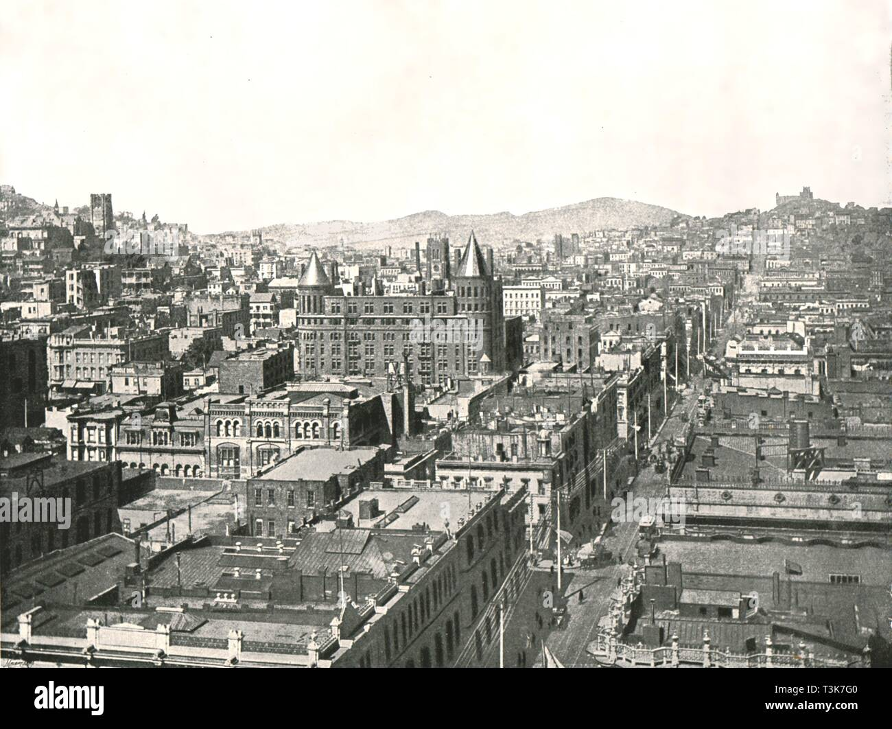 Bird's eye view from the tower of the Chronicle Building, San Francisco, USA, 1895.  Creator: Unknown. - Stock Image