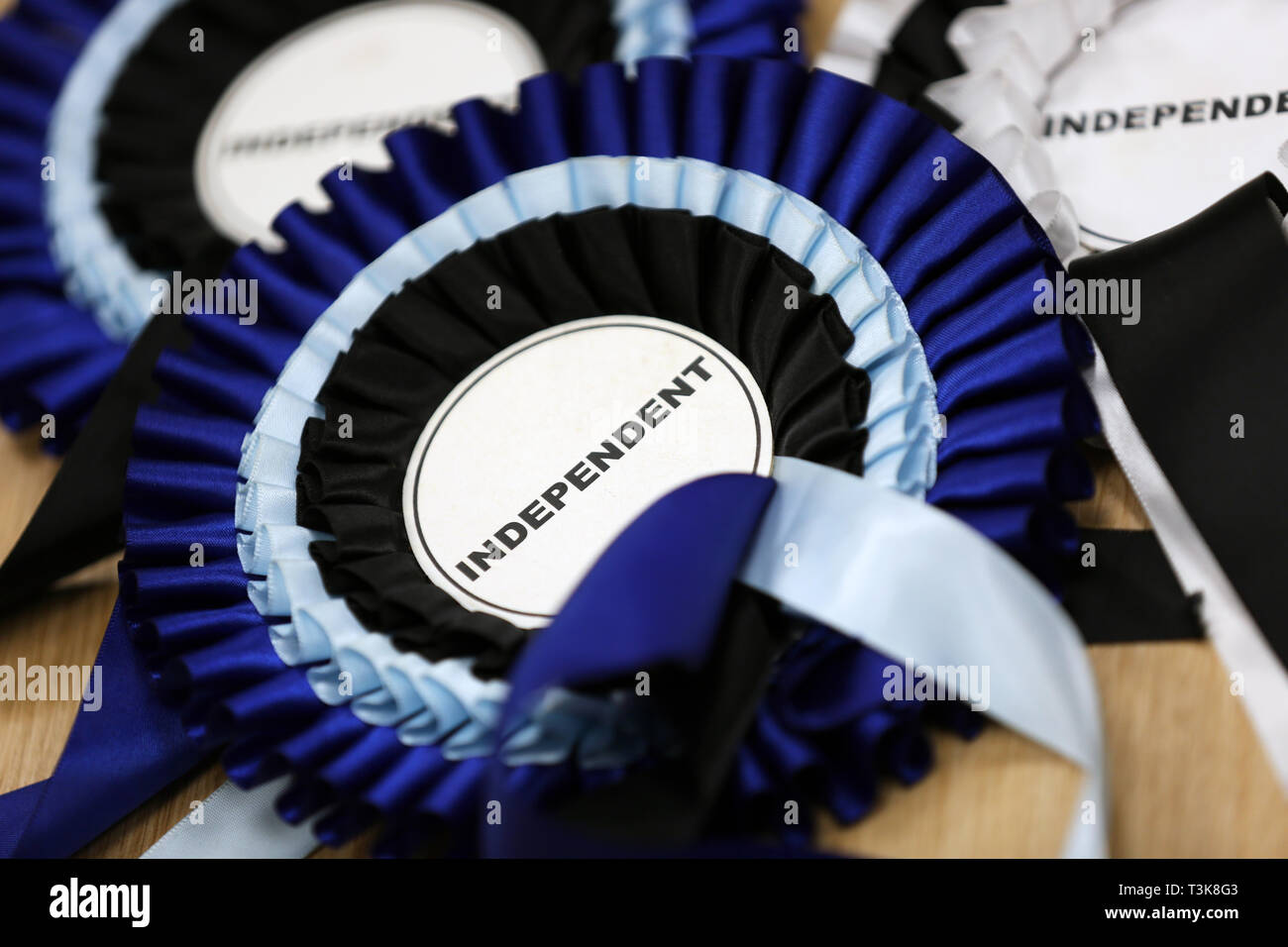 A selection of Independent candidate campaign rosettes pictured in Bognor Regis, West Sussex, UK. - Stock Image