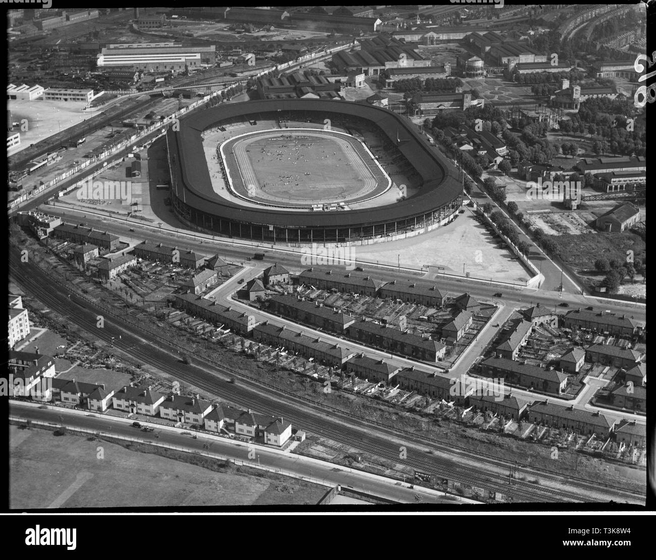 White City Stadium, Shepherd's Bush, London, 1935. The stadium was built for the 1908 Olympic Games held in London. The stadium was a venue for various sports during its history and was particularly associated with greyhound racing and speedway after the Second World War. It was demolished in 1985 and the site was redeveloped as the BBC White City complex. - Stock Image