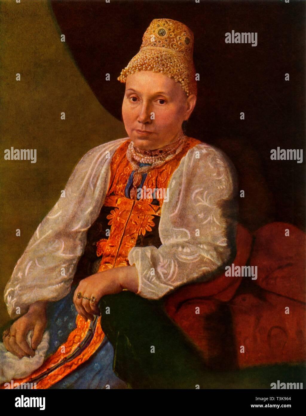 'Portrait of the Wife of Obraztsov, the Merchant from Rshev', 1830s?, (1965).  Creator: Aleksey Venetsianov. - Stock Image