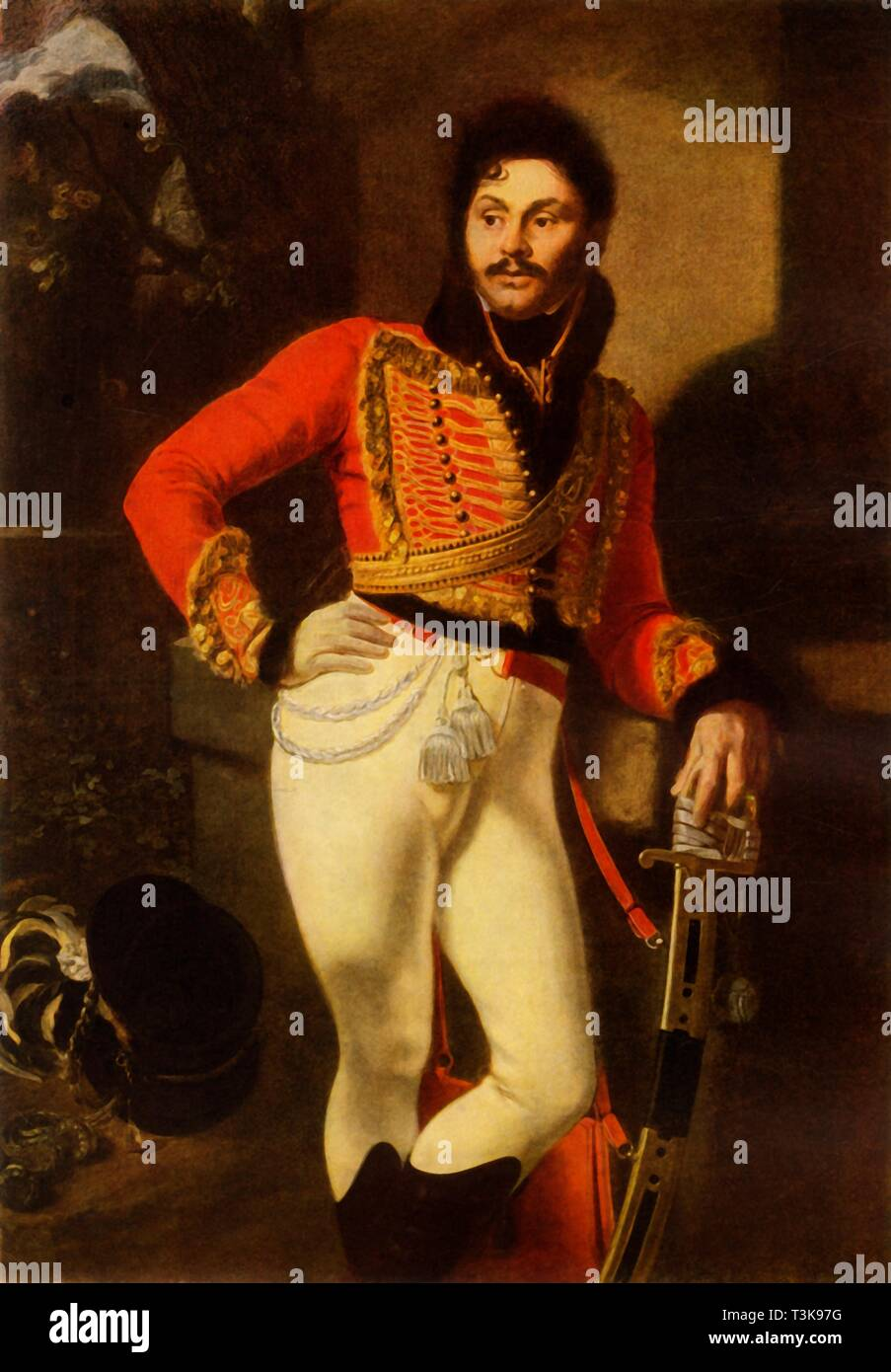 "'Portrait of Yevgraf Vladimirovich Davydov', 1822, (1965). Russian soldier Yevgraf Davydov (1775-1823) fought in the Napoleonic Wars at the Battle of Austerlitz and the Battle of Ostrovnoye. He lost an arm and a leg at the Battle of Leipzig (1813), and was decorated with military honours. Orest Kiprensky (1782-1836) was born a serf near Saint Petersburg, and while still a boy gained a place to study at the Imperial Academy of Arts in the city. He lived for some years in Italy. Painting in the State Russian Museum, St Petersburg. From ""Russian Painting of the 18th and 19th Centuries""  - Stock Image"