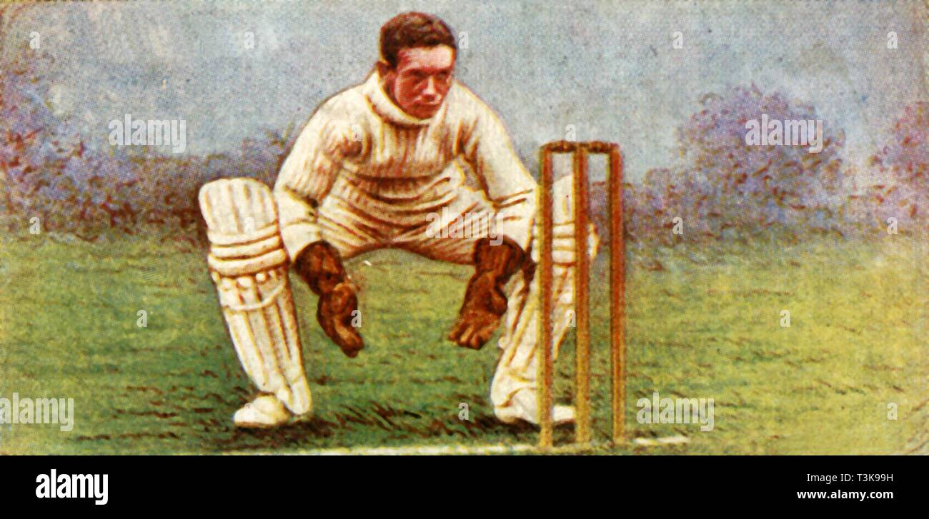 "'E. J. Smith (Warwickshire)', 1928. From ""Wills's Cigarettes - A Series of 50 Cricketers, 1928"", [W. D. & H. O. Wills, London, 1928] - Stock Image"
