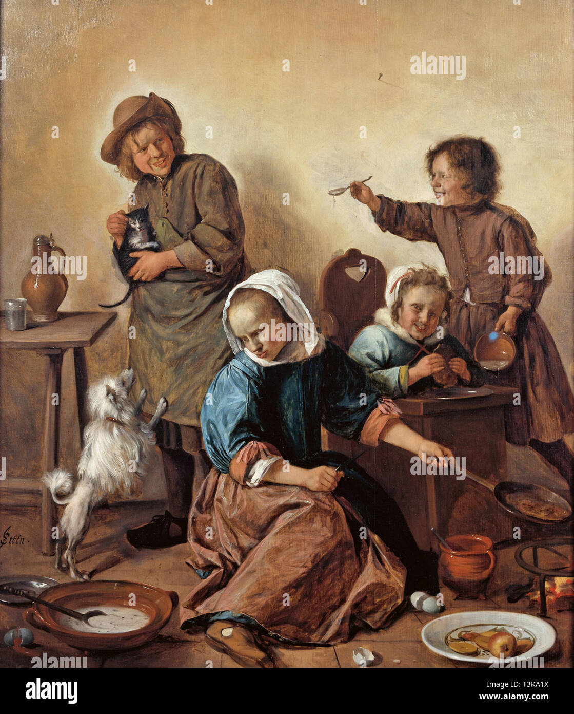 The Children's Meal, ca 1665. Found in the Collection of Nivaagaards Malerisamling. - Stock Image