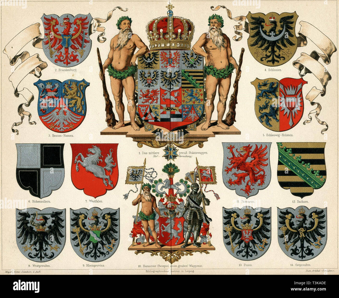 Coat of arms of the Kingdom of Prussia and provinces (Meyers Großes Konversations-Lexikon), 1883.  Private Collection. - Stock Image
