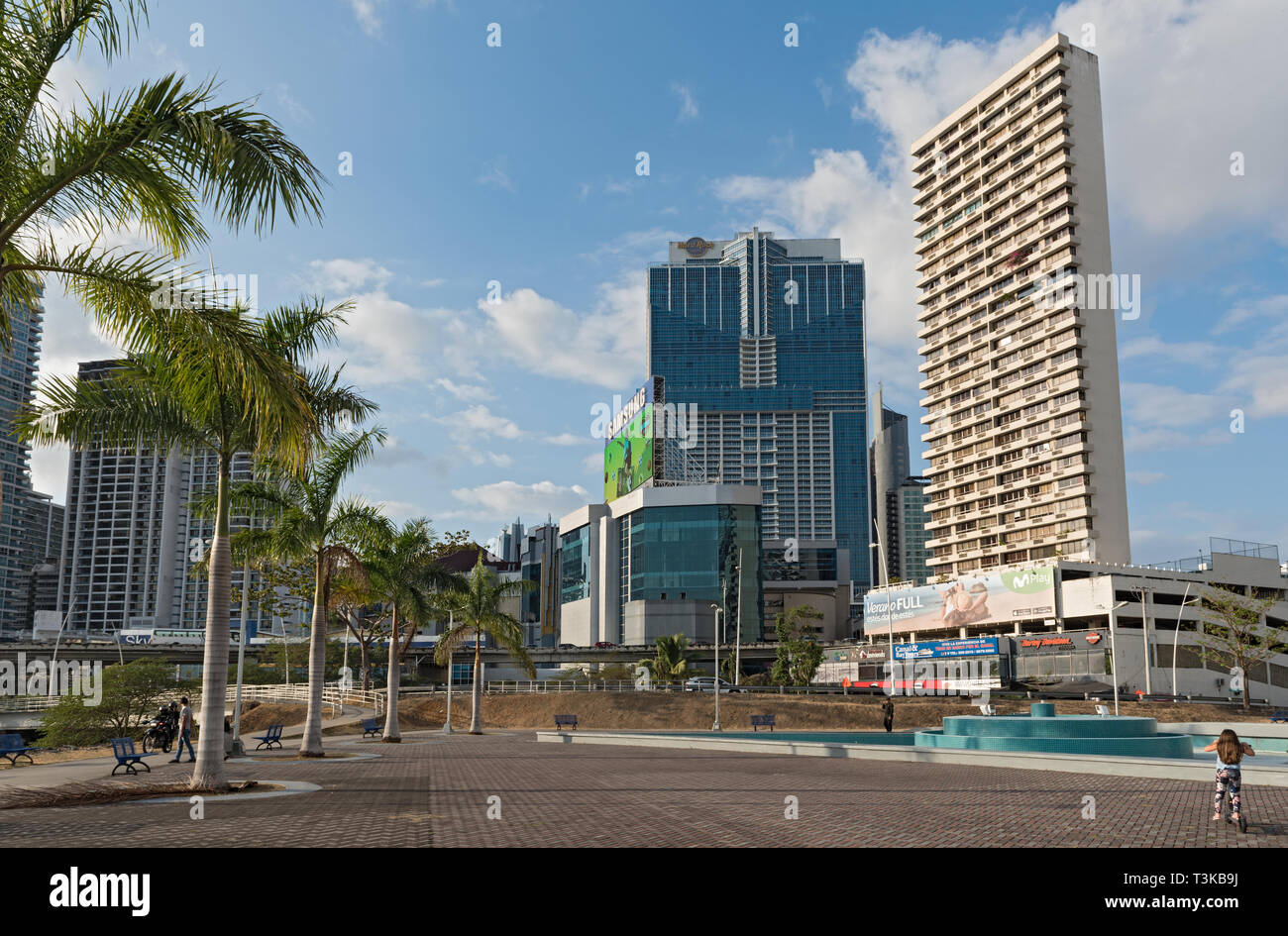 democracy plaza in front of the skyline in panama city - Stock Image