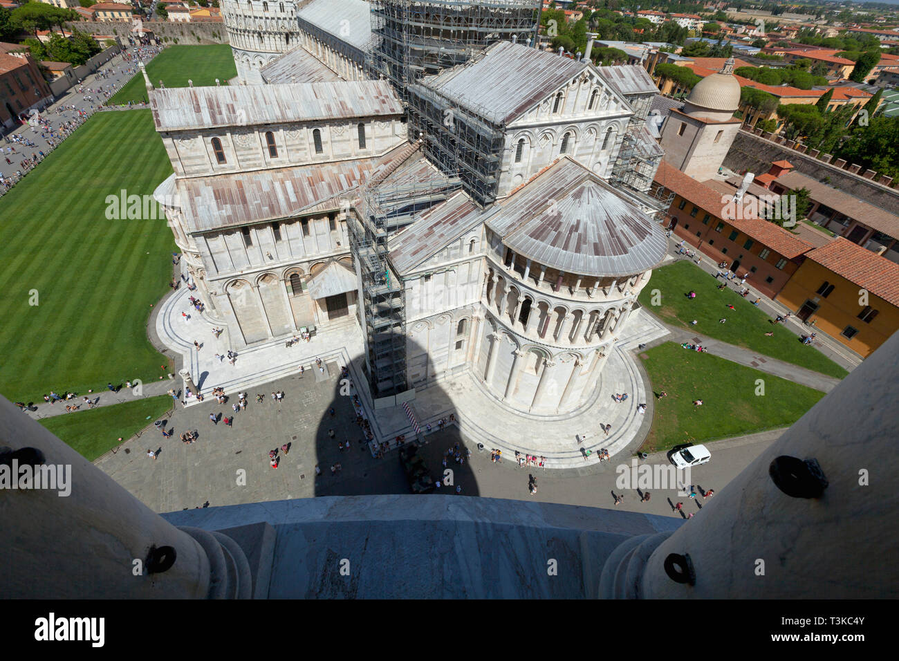 View of Cathedral from the Leaning Tower of Pisa Stock Photo