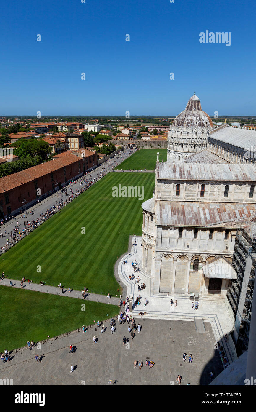 View of Piazza dei Miracoli from the top of the Leaning Tower of Pisa Stock Photo