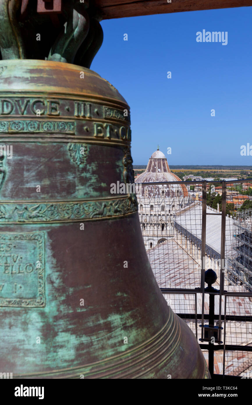 Bell and view from the Leaning Tower of Pisa Stock Photo
