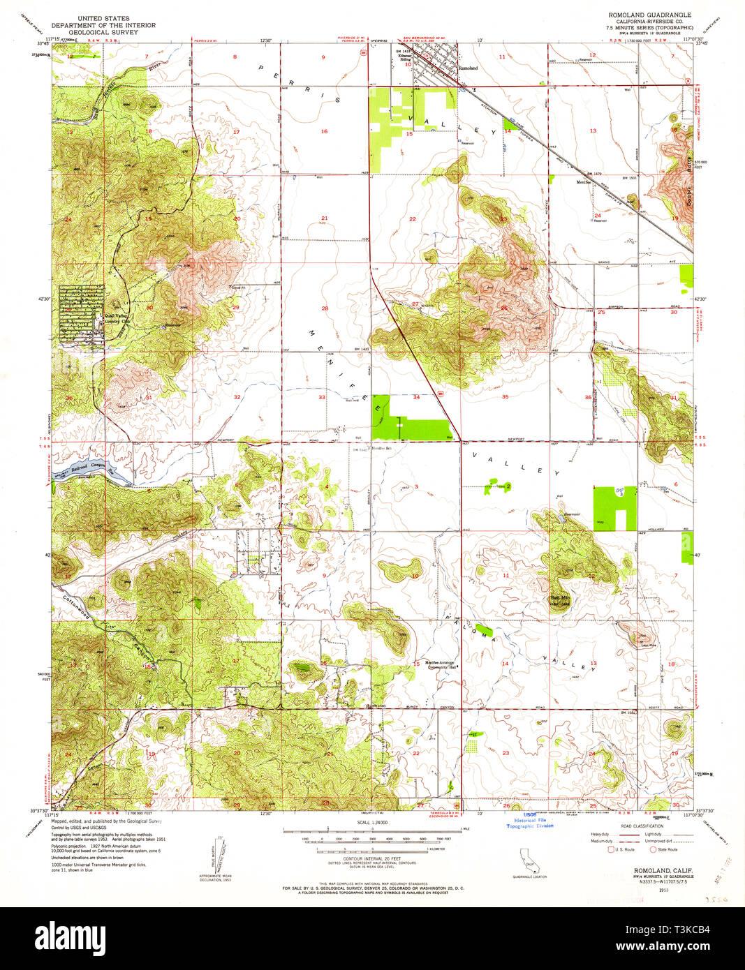 USGS TOPO Map California CA Romoland 294796 1953 24000 ...