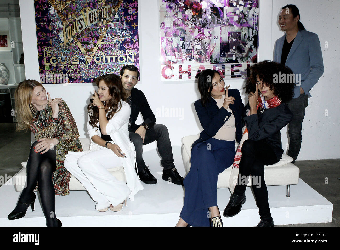 New York, USA. 21 May, 2015.  Co-Creater of Space 16, Daniela Zahradnikova, Art Dearler, Sasha Rales, Artist, Tigran Tsitoghdzyan, Kamilla Sun, Designer/Model, Michael McElroy, and, Eddie Chau at The Opening Night Of 'Paul Gerben: Mind Game' Private Art Event at Space 16 on May 21, 2015 in New York, NY. Credit: Steve Mack/S.D. Mack Pictures/Alamy - Stock Image