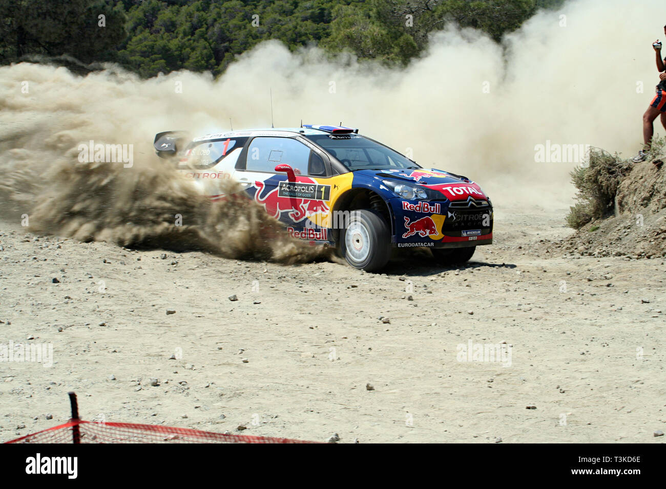 2011 Acropolis Rally, Special Stage 16 (Aghii Theodori 2). Sébastien Loeb - Daniel Elena, Citroën DS3 WRC (finished 2nd) - Stock Image