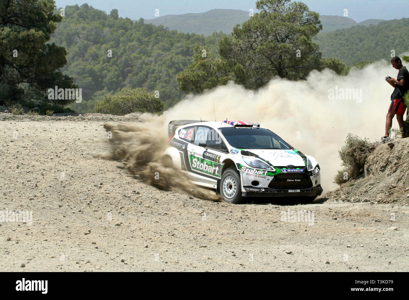 2011 Acropolis Rally, Special Stage 16 (Aghii Theodori 2). Matthew Wilson - Scott Martin, Ford Fiesta RS WRC (finished 6th) - Stock Image