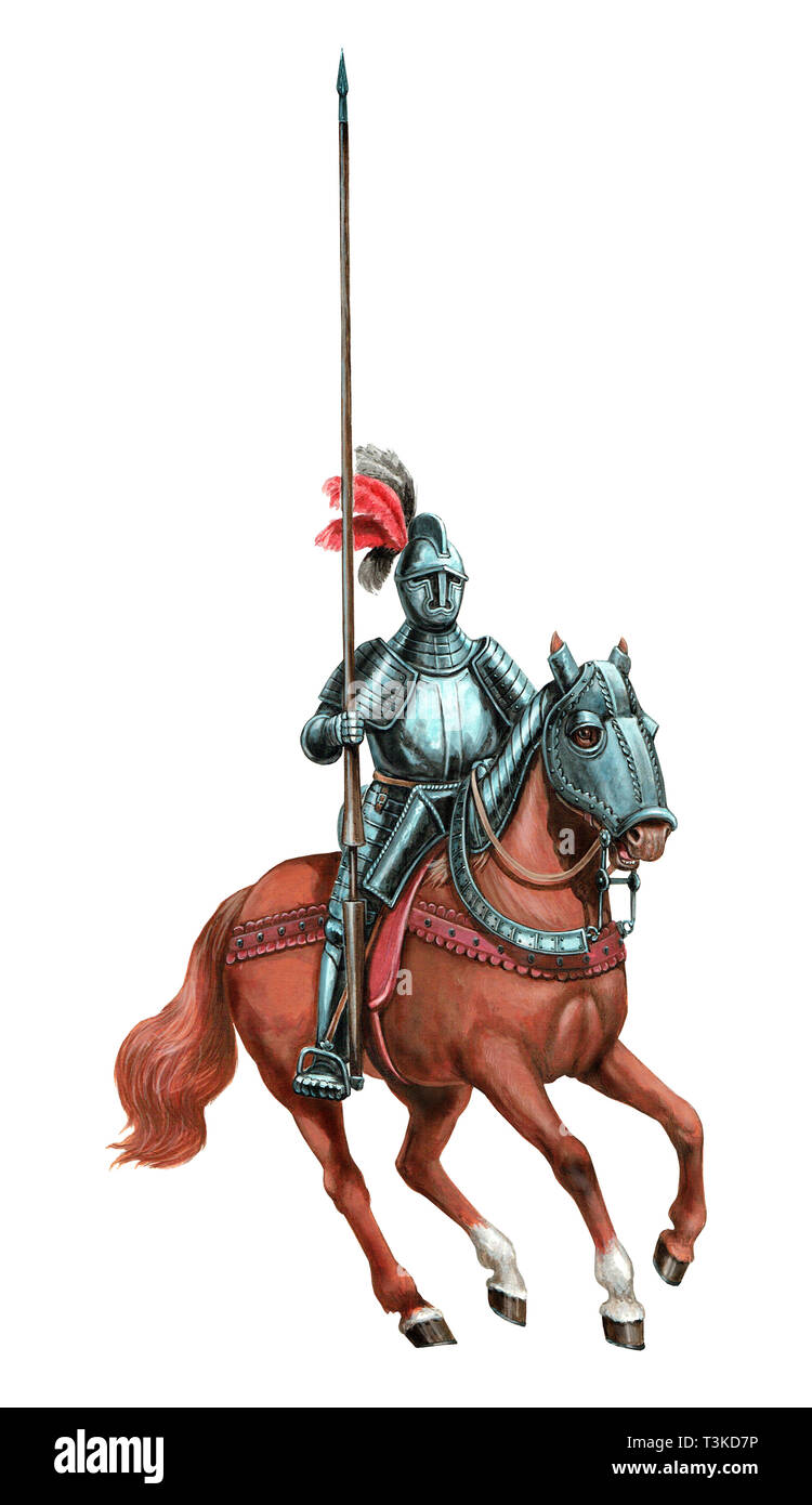 Armoured knight illustration. Mounted knight isolated acrylic picture. - Stock Image