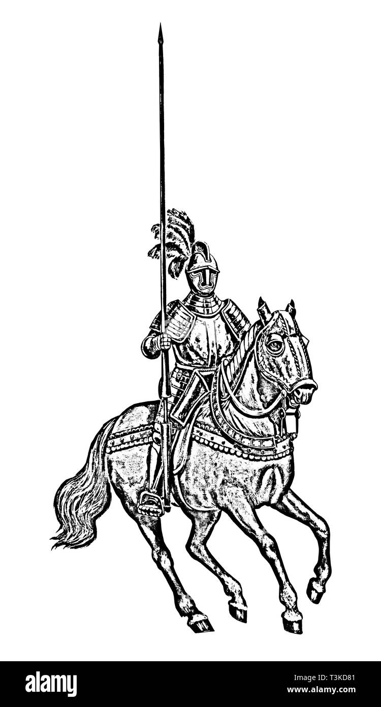 Armoured knight illustration. Mounted knight isolated black and white drawing. - Stock Image