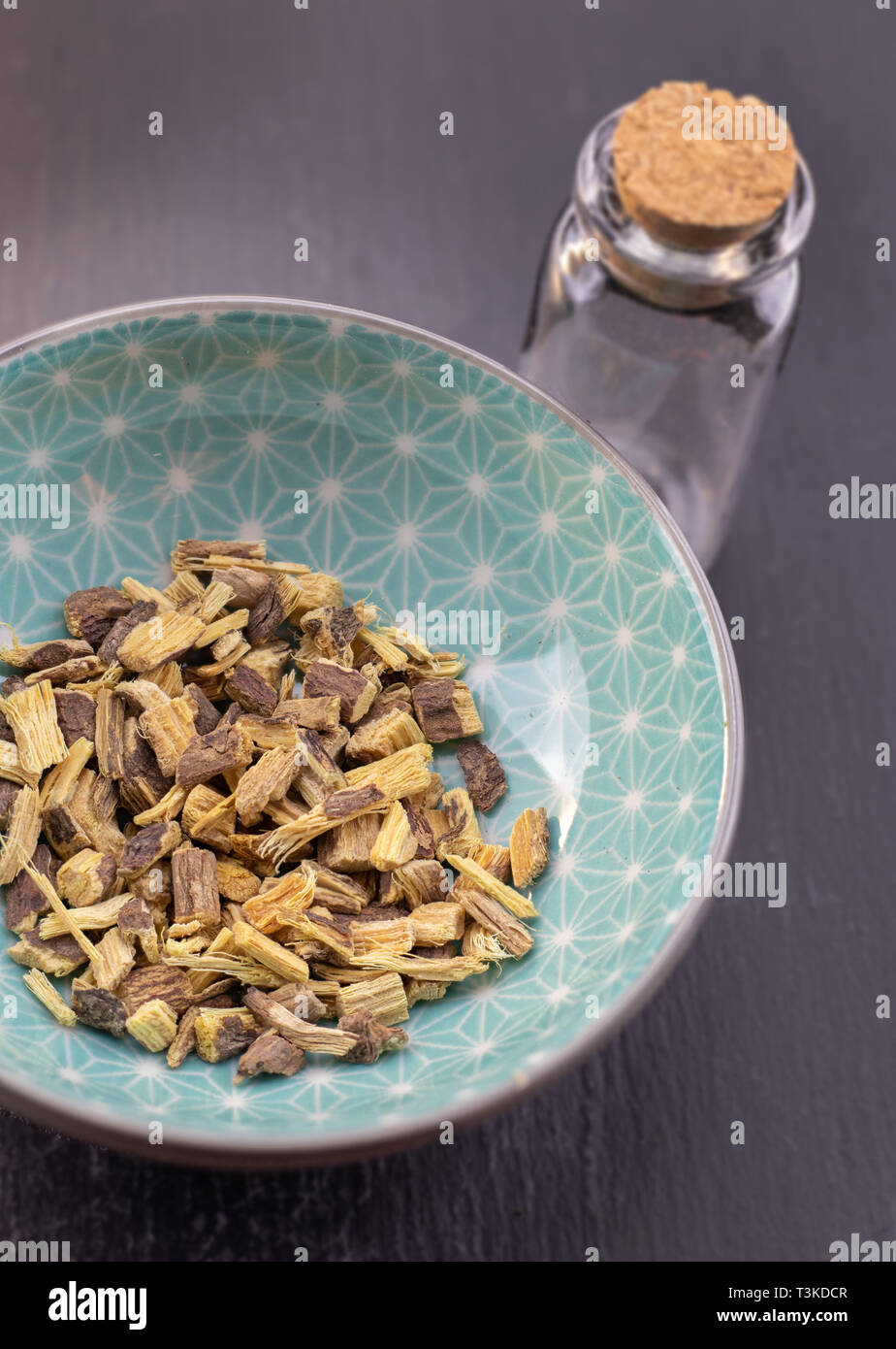 licorice root detail, healthy herbs naturopathy - Stock Image