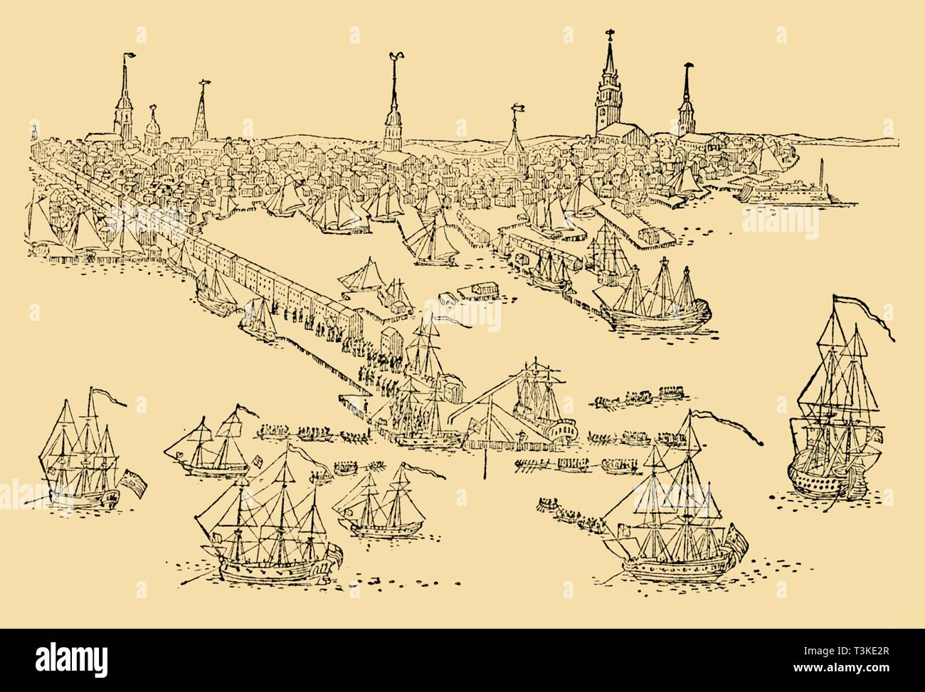 'English Ships of War at Boston (Where The 'Tea-Party' Took Place) In 1768', c1930. Creator: Unknown. - Stock Image